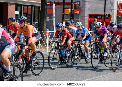 """Arlington, VA / USA - June 2 2019: Racers in the Clarendon Cup Pro Cycling Race"""