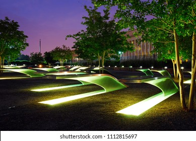 Arlington, VA, USA June 22  Lighted benches serve as a memorial, honoring those killed at the Pentagon during the September 11 terrorist attacks.