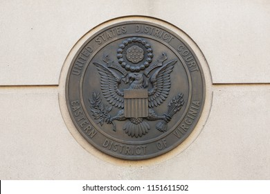 ARLINGTON, VA / USA - JUNE 30, 2018: United States District Court for the Eastern District of Virginia plaque located at the Albert V Bryan United States Courthouse in Alexandria, VA.