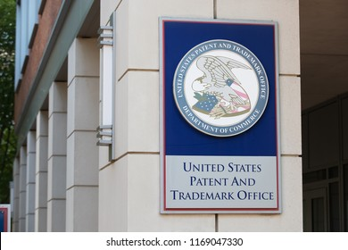 ARLINGTON, VA / USA - JUNE 30, 2018: The United States Patent and Trademark Office is the federal agency for granting U.S. patents and registering trademarks.
