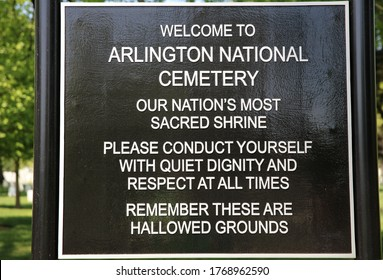 Arlington, VA, USA - May 02, 2019: Sign at the Arlington National Cemetery. Virginia. USA