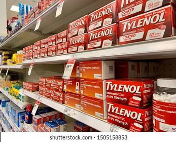 ARLINGTON, VA, USA - SEPTEMBER 15, 2019: TYLENOL PAIN RELIEVER JOHNSON & JOHNSON  brand logo sign - display aisle at TARGET store