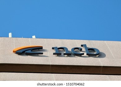 ARLINGTON, VA, USA - SEPTEMBER 21, 2019: NCB NATIONAL COOPERATIVE BANK brand logo sign at headquarters building location