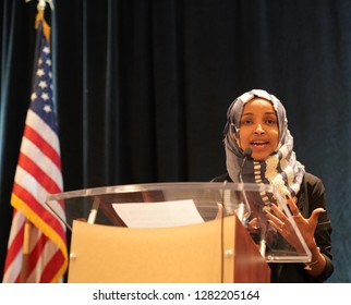 Arlington, VA/USA – January 10, 2019: Rep. Ilhane Omar (D-MN) speaking at the Council on American Islamic Relations (CAIR), congressional reception for newly elected Congressional representatives.