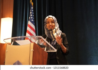 Arlington, VA/USA – January 10, 2019: Rep. Ilhan Omar (D-MN) speaking at the Council on American Islamic Relations (CAIR), congressional reception for newly elected Congressional representatives.