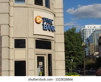 Arlington, Va./USA-10/4/19: A PNC Bank branch in the Ballston section of Arlington.