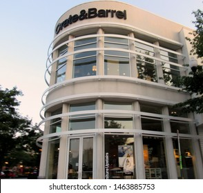 Arlington, Va./USA-7/28/19: A Crate & Barrel store in the Clarendon shopping district of Arlington in suburban Washington, D.C.