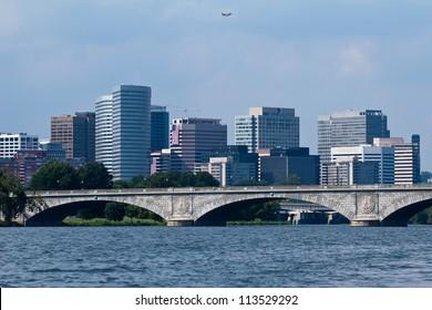 Arlington, Virgina photographed over the Francis Scott Key Bridge and Potomac River, located near Washington, D.C.
