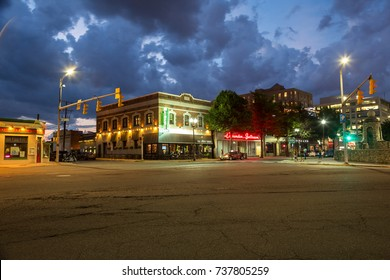 Arlington, Virginia - 24 July, 2017: The Liberty Tavern and the Clarendon Ballroom in the Arlington neighborhood of Clarendon on a summer evening.