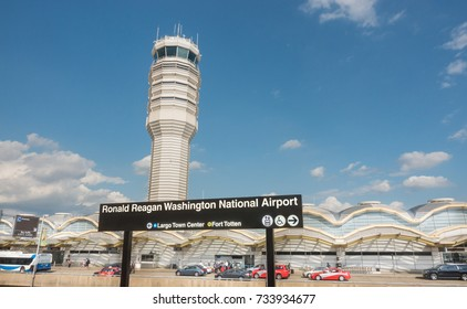 ARLINGTON, VIRGINIA - OCT. 12, 2017: Control Tower, National Airport seen from Metro Station platform.  Ronald Reagan National Airport, aka DCA, is actually in Arlington, three miles from DC.