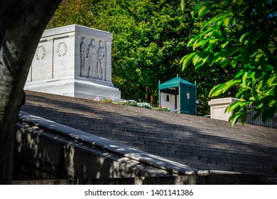 Arlington, Virginia / United States – October 3, 2017:  The Tomb of the Unknown Soldier sits on a hill at Arlington National Cemetery.