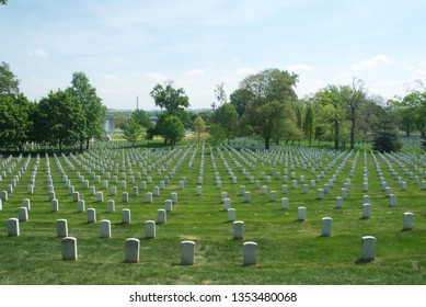 Arlington, Virginia, USA, April 20, 2012 The fields of headstones at Arlington National Cemetery,
