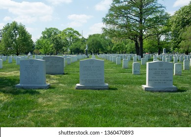 Arlington, Virginia, USA, April 20, 2012 Tombstones of three members of a Jewish family buried together.