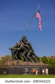 ARLINGTON, VIRGINIA, USA - APRIL 27, 2009: United States Marine Corps War Memorial, Iwo Jima statue and flag, in Rosslyn.