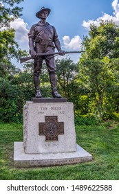 ARLINGTON, VIRGINIA, USA - AUGUST 31, 2018: The Hiker, a statue that commemorates the American soldiers who fought in the Spanish-American War. Located before entering of Arlington National Cemetery.