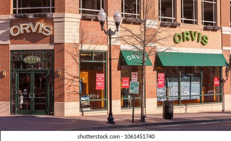 ARLINGTON, VIRGINIA, USA - FEBRUARY 24, 2009: Orvis store exterior with signs.