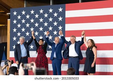 Arlington, Virginia, USA- July 24th, 2021: Virginia democratic nominees Mark Herring, Hala Ayala, and Terry McAuliffe greeting crowds with president Biden at a campaign rally.