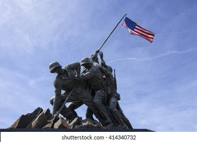 ARLINGTON, VIRGINIA, USA - MARCH 30, 2016. Iwo Jima U.S. Marine Corps War Memorial in Rosslyn, a military memorial statue. Editorial image only