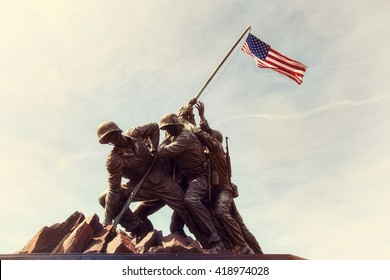 ARLINGTON, VIRGINIA, USA - MARCH 30, 2016. Iwo Jima U.S. Marine Corps War Memorial in Rosslyn, a military memorial statue. Editorial image only Retro Instagram style.