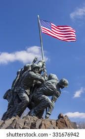 ARLINGTON, VIRGINIA, USA - MARCH 4, 2013:  Iwo Jima U.S. Marine Corps War Memorial in Rosslyn, a military memorial statue.