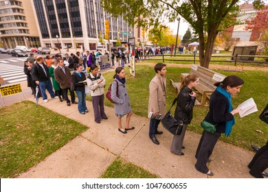 ARLINGTON, VIRGINIA, USA - NOVEMBER 4, 2008: People lining up in the morning to vote on presidential election day.