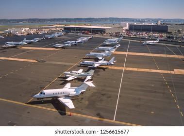 ARLINGTON, VIRGINIA, USA - OCTOBER 29, 1999: Private jets parked at Reagan National Airport