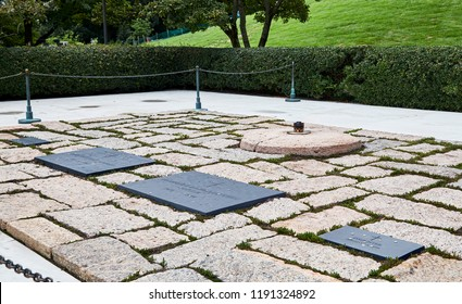Arlington, Virginia, USA - September 15, 2018: Gravesite of President John F Kennedy and family at Arlington National Cemetery