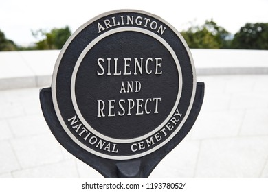 Arlington, Virginia, USA - September 15, 2018: Arlington National Cemetery silence and respect sign