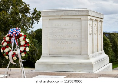 Arlington, Virginia, USA - September 15, 2018: Wreath at tomb of the unknown soldier in Arlington National Cemetery