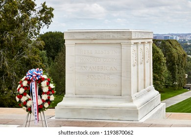 Arlington, Virginia, USA - September 15, 2018: Wreath at the tomb of the unknown soldier in Arlington National Cemetery