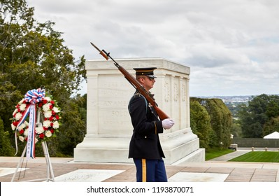 Arlington, Virginia, USA - September 15, 2018: Guard at the tomb of the unknown soldier in Arlington National Cemetery