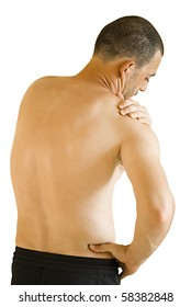 arm ache sports injury - young man having neck and shoulder ache making massage