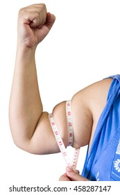 arm body fat by measure tape or line tape of woman on white background - squeeze tighten