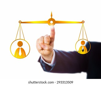 Arm in business suit reaching to touch a virtual golden pair of scales keeping a big male office worker in equilibrium with a small male knowledge worker. Metaphor for career and employment issues.