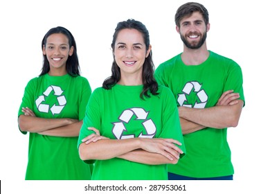 Arm crossed friends wearing recycling tshirts
