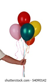 a arm holds colorful helium balloons isolated on white