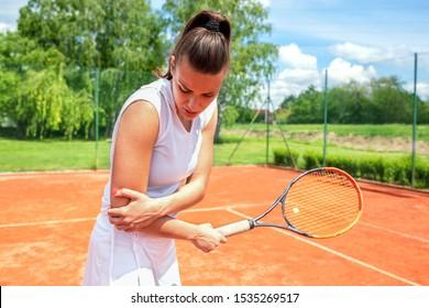 Arm injury during tennis practice, concept of tennis injuries
