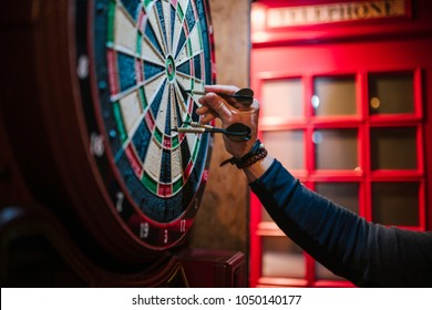 Arm of a man in a bar