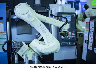 Arm of the robot in factory