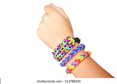 arm with rubber band bracelets