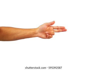 arm Stretch out and gesture shoot on white background.