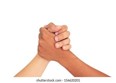 Arm Wrestling isolated on white background