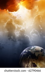 Armageddon background - planet Earth in space. Global warming, climate change, mayan apocalypse 2012, Nostradamus armageddon 2012, armageddon bible, stop global warming