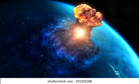 Armageddon. Nuclear bomb or asteroid impact creates a nuke mushroom