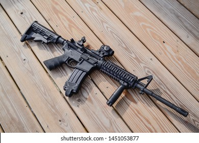 Armalite AR15 with Aimpoint Micro T2 and forward grip