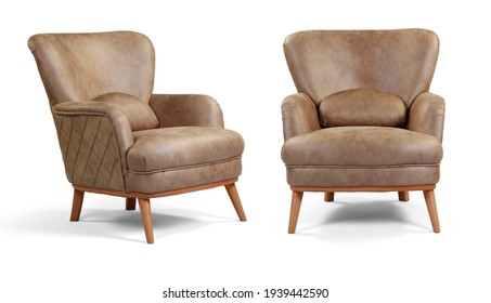 armchair different angles isolated on a white background .
