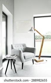 Armchair in living room, scandinavian interior