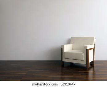 armchairs to face a blank wall