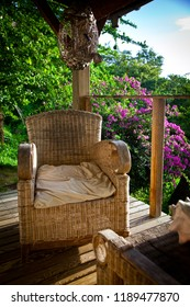 armchairs on a terrace in the jungle in the Carribean, Guadeloupe
