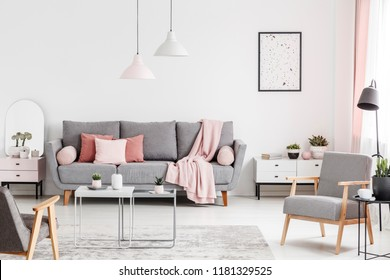 Armchairs and tables in white living room interior with poster and pink blanket on grey sofa. Real photo